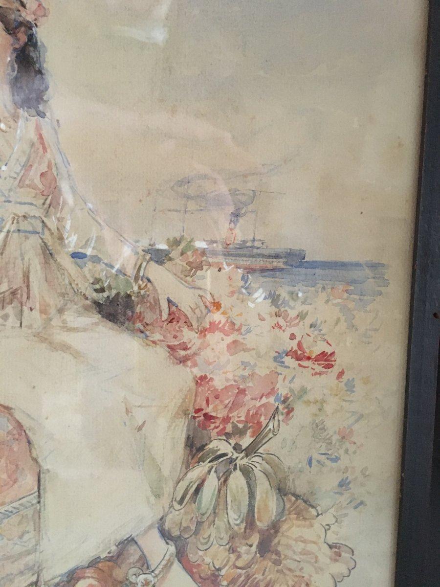 Aquarelle Orientaliste Signée Louis Émile Bertrand -photo-4