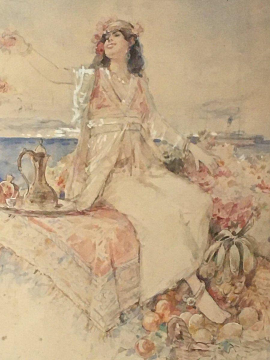 Aquarelle Orientaliste Signée Louis Émile Bertrand -photo-1