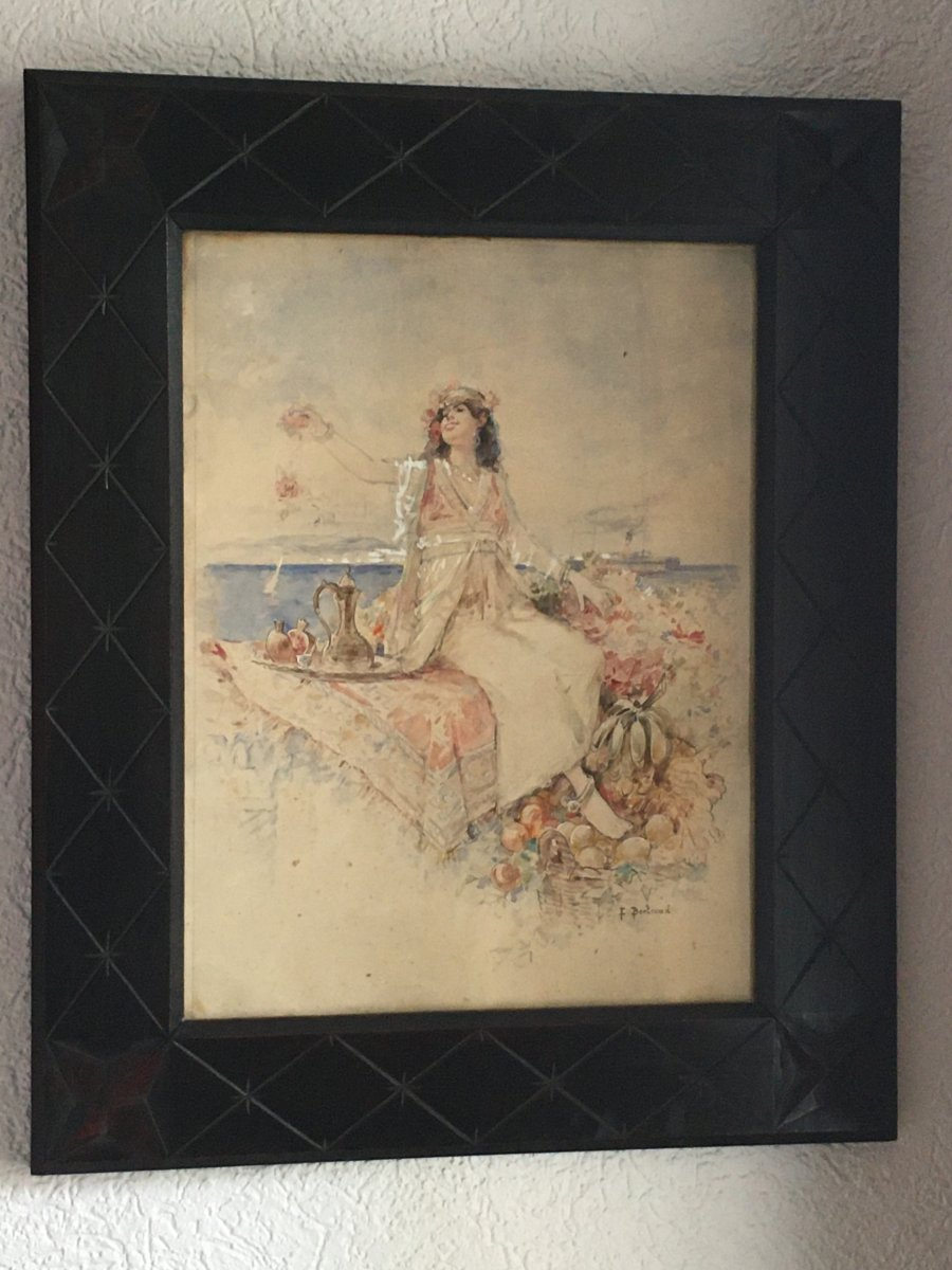 Aquarelle Orientaliste Signée Louis Émile Bertrand
