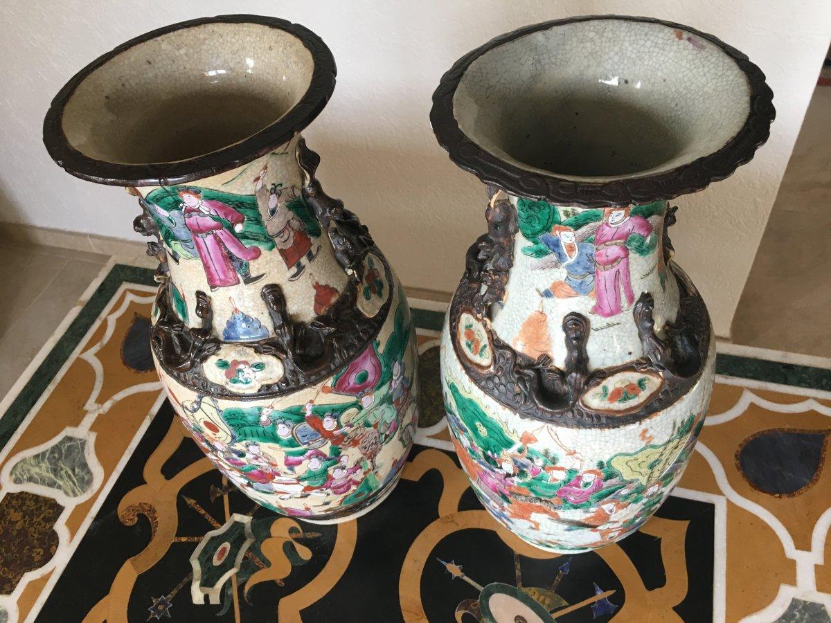Grande Paire De Vases En Porcelaine De Nankin 19eme -photo-1