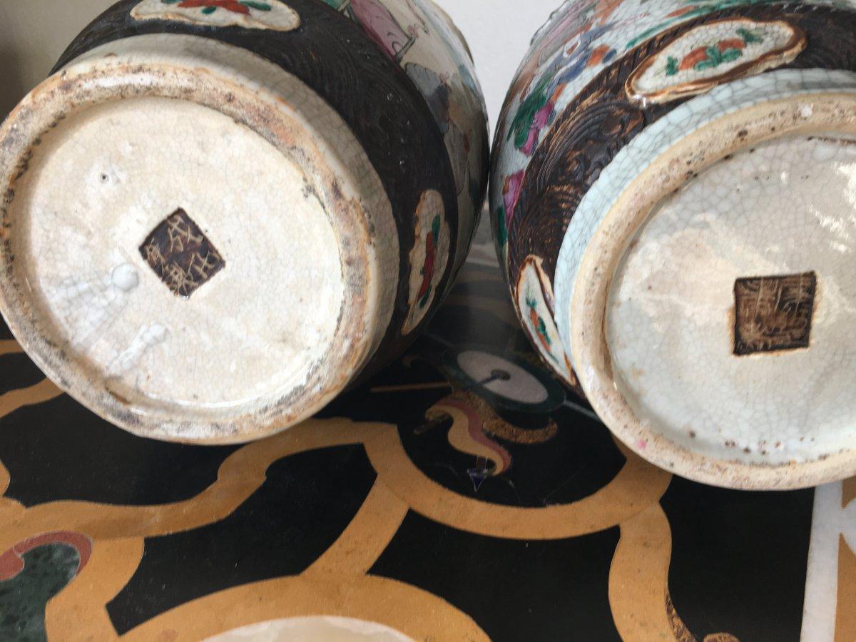 Grande Paire De Vases En Porcelaine De Nankin 19eme -photo-2