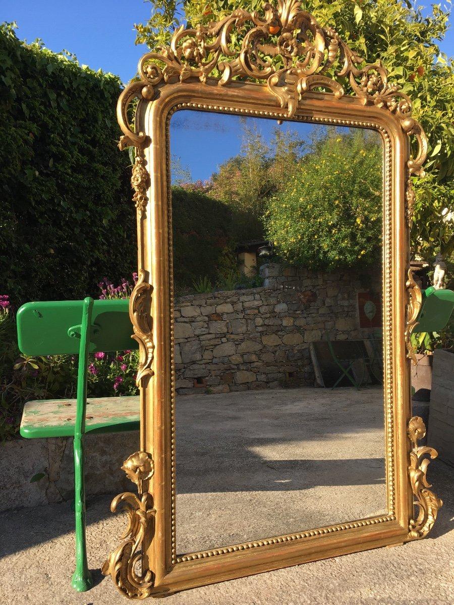 Grand Miroir De Cheminée à Fronton Bois Et Stuc -photo-1