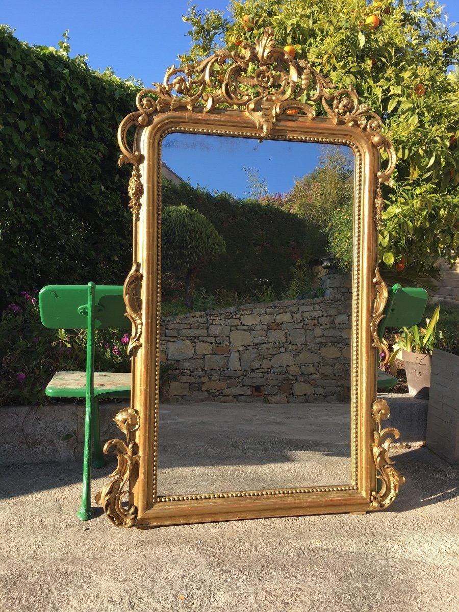 Grand Miroir De Cheminée à Fronton Bois Et Stuc -photo-2
