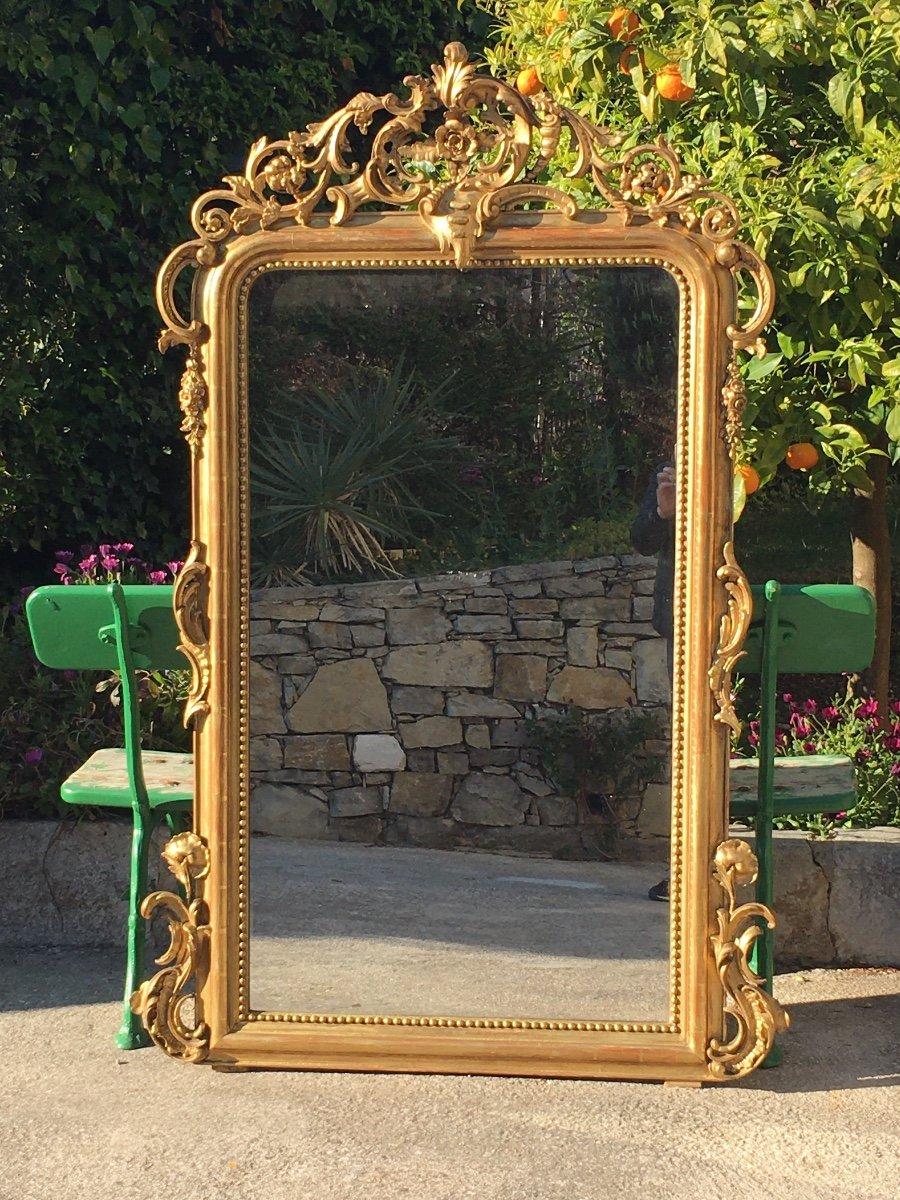 Grand Miroir De Cheminée à Fronton Bois Et Stuc