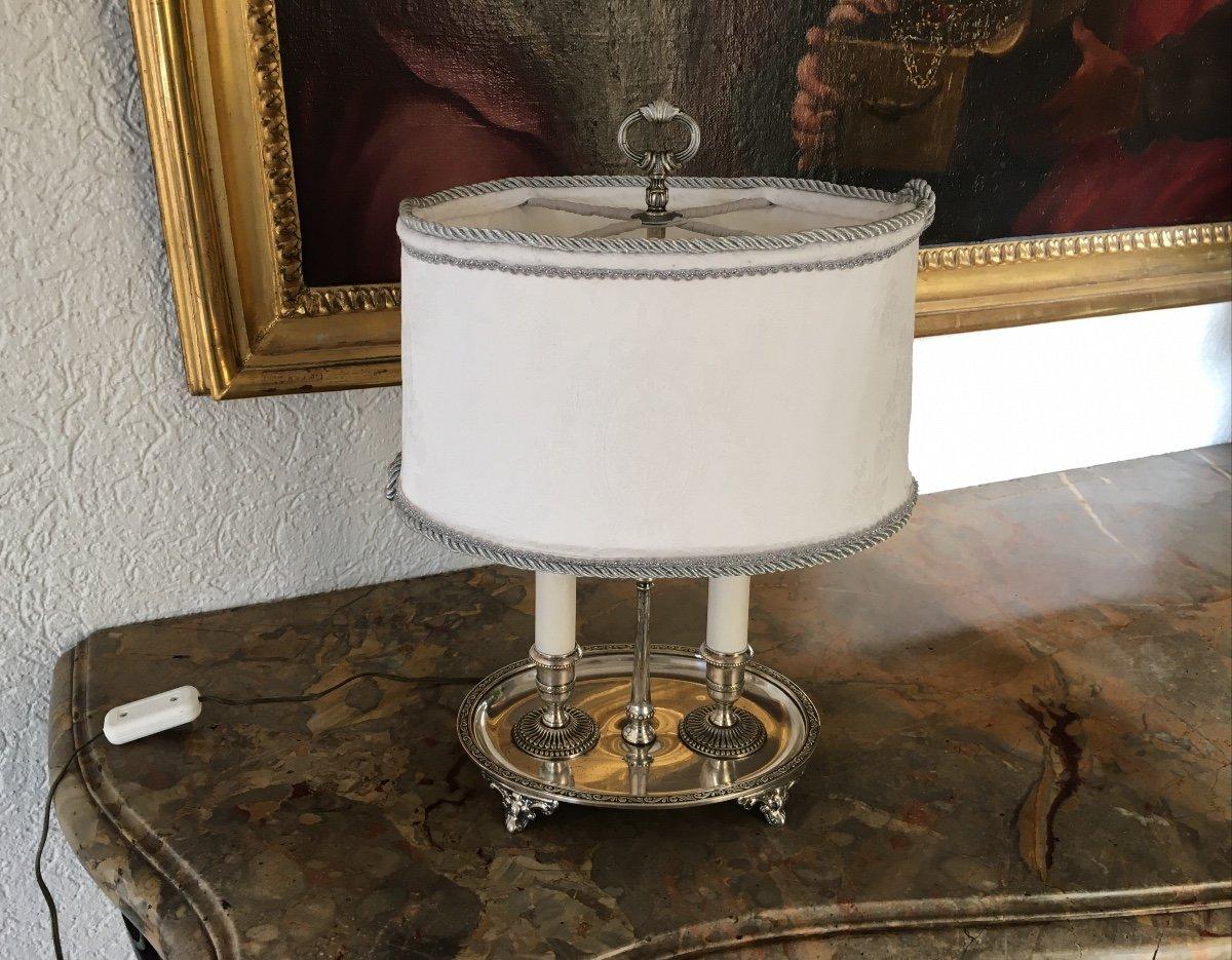 Lampe Bouillotte En Métal Argenté Style  Louis XIV-photo-1