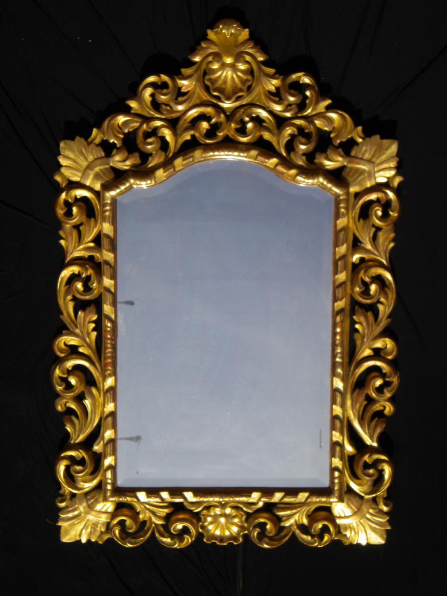 Spectaculaire miroir de venise en bois dore miroirs for Prix miroir ancien