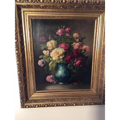 Bouquet De Fleurs Huile Sur Toile 19eme Signe Boucher