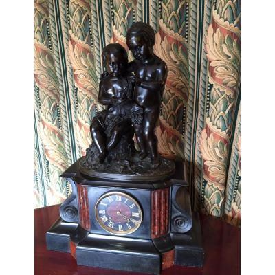 Pendule Marbre Et Bronze Napoléon III