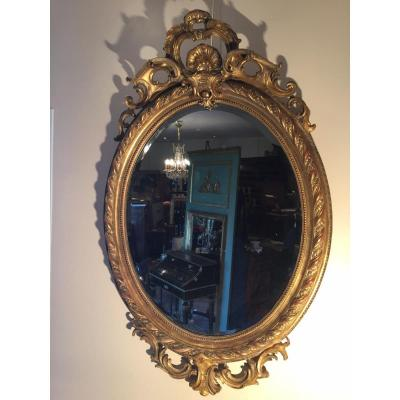 Grand Miroir Médaillon Doré A La Feuille d'Or