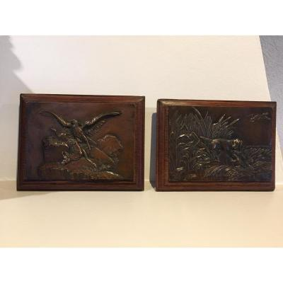Deux Plaques De Bronze Signées Barye 1796 1875
