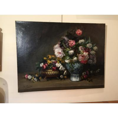 Big Oil On Canvas Flower Bouquet