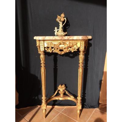 Petite Console Louis XVI En Bois Dorè