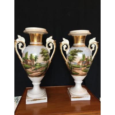 Grands Vases En Porcelaine De Paris