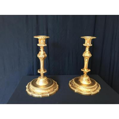 Paire De Flambeaux En Bronze Dores de Victor Paillard
