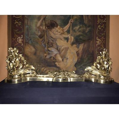 Paire De Chenets Et Barre De Foyer En Bronze 19eme