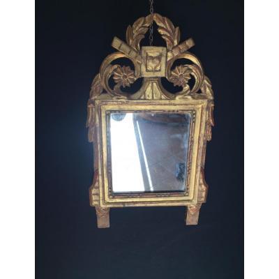 Petit Miroir De Mariage En Bois Dorè