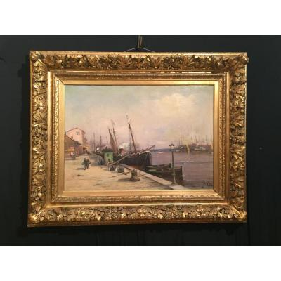 The Port Of Sait Oil On Canvas Late Nineteenth
