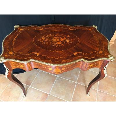 Table Bureau En Marqueterie Style Louis XV