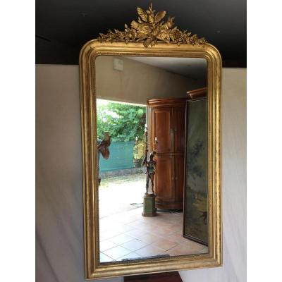Grand Miroir Louis Philippe Doré à La Feuille D'or