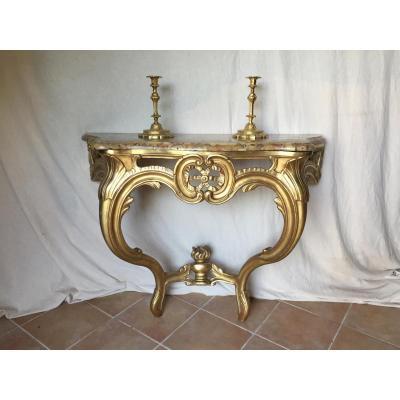 Console Louis XV En Bois Doré
