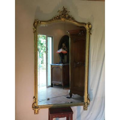 Large Mirror Louis XV Style Golden Leaf
