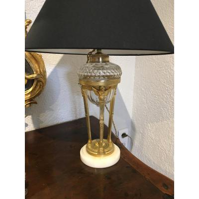 Lampe En Bronze Doré Et Cristal Style Empire