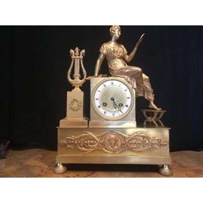 Pendule époque Restauration En Bronze Doré