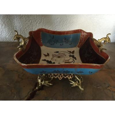 Earthenware And Bronze Cup Sarreguemines