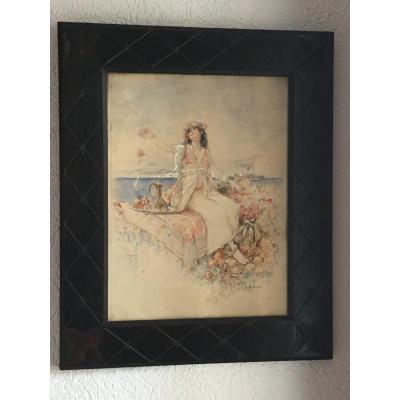 Orientalist Watercolor Signed Louis Émile Bertrand