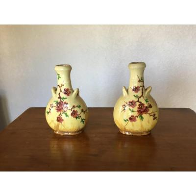 Pair Of Small Vases Signed Clément Massier