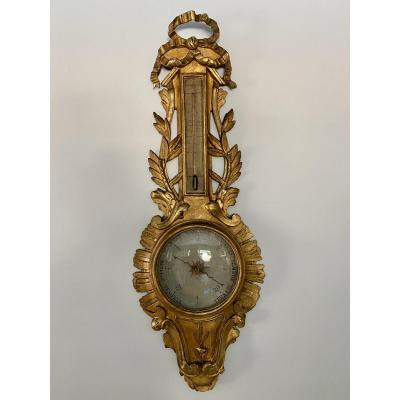 Large Barometer Thermometer In Golden Wood XVIII