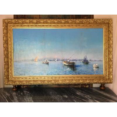Large Table La Rade De Toulon By Louis Nattero 1870 1915 Provencal School