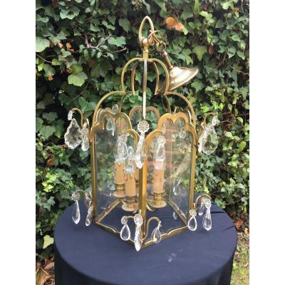 Lanterne De Vestibule En Bronze Et Pampilles