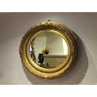Miroir Ovale Bois Et Stuc Doré époque Napoléon III