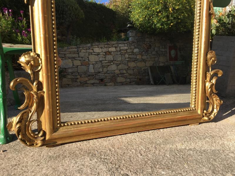 Grand Miroir De Cheminée à Fronton Bois Et Stuc -photo-3