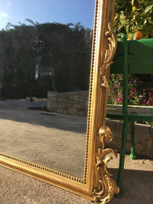 Grand Miroir De Cheminée à Fronton Bois Et Stuc -photo-4
