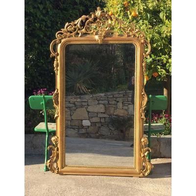 Large Fireplace Mirror With Wood And Stucco Fronton