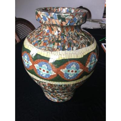Ceramic Vase Signed Jean Gerbino Vallauris