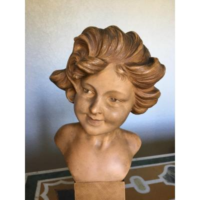 Bust Of Young Girl In Terracotta