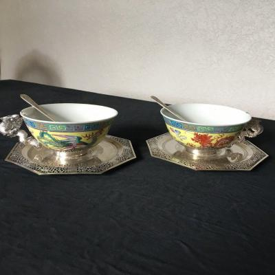 Pair Of Chinese Cups And Their Silver Saucers Early 20th