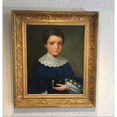 Portrait D'une Jeune Fille Du 19eme