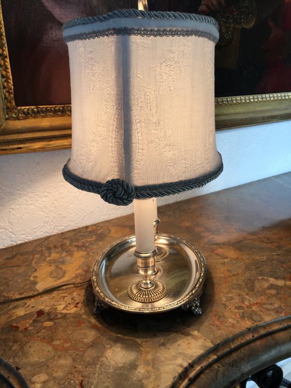 Lampe Bouillotte En Métal Argenté Style  Louis XIV-photo-2