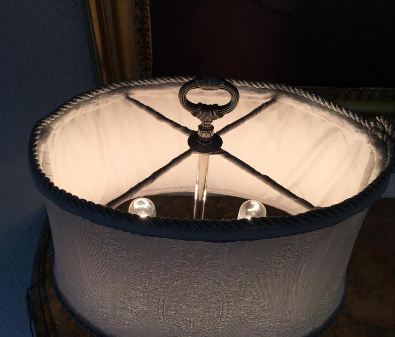 Lampe Bouillotte En Métal Argenté Style  Louis XIV-photo-3