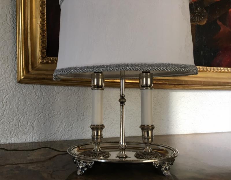 Lampe Bouillotte En Métal Argenté Style  Louis XIV-photo-4