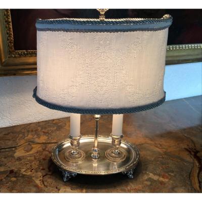Lampe Bouillotte En Métal Argenté Style  Louis XIV