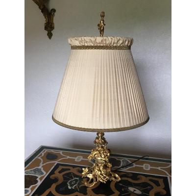 Lampe De Salon En Bronze Doré Style Rocaille