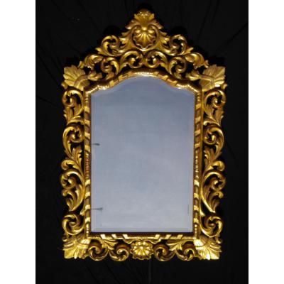 Spectaculaire Miroir de Venise en bois dore