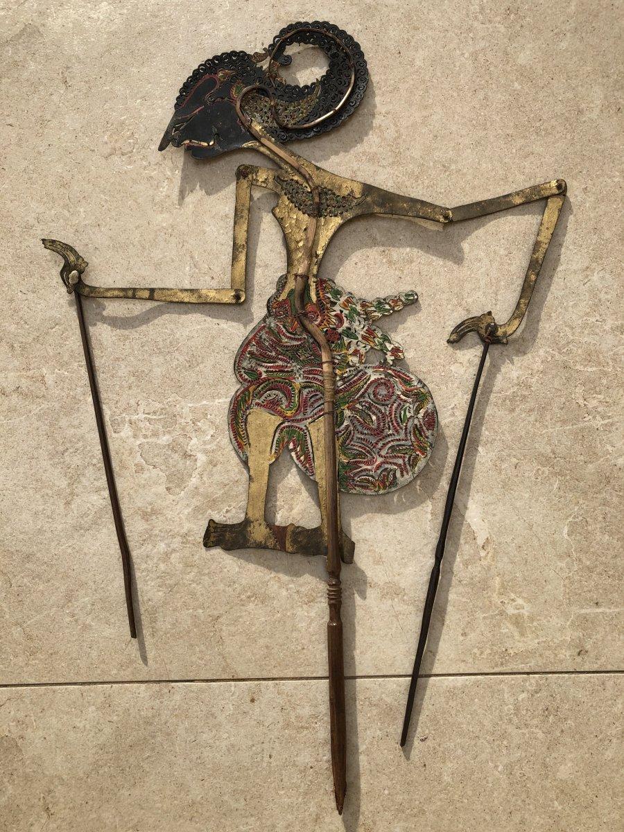 Theartre d'Ombre De Bali , Marionnette Cuir Decoupé Et Corne Buffle , Bali