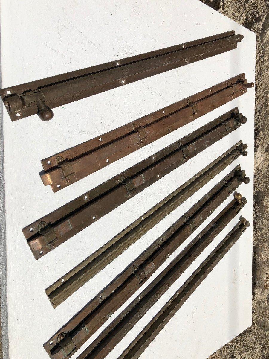 Lot De 7  Targettes Coloniale Anglais En Laiton Pour Portes Et Fenetres  , Birmanie .-photo-5