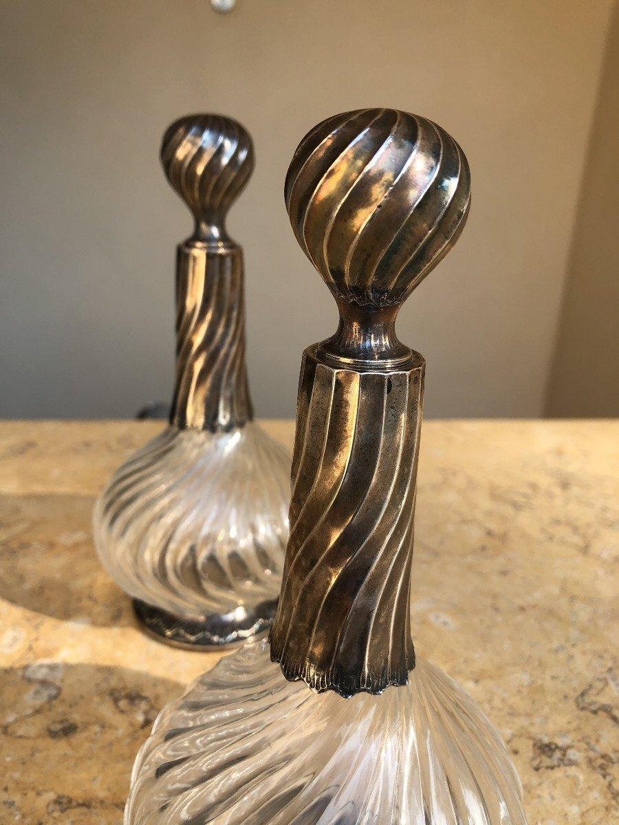 Paire De Carafes Cristal Et Argent , XIX é Siecle